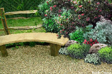 Garden design:bush and bench