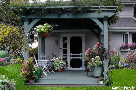 Garden design:front porch - Spring