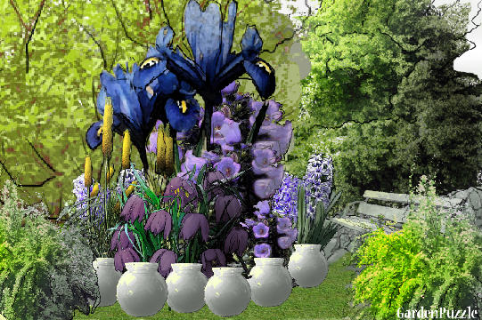 Garden design:Purple shade  - Spring