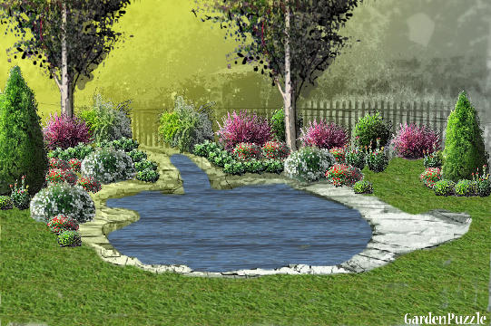 Garden design:Back yard - Spring