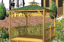 Garden design:wood house garden