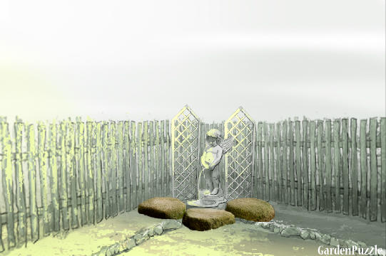 Backyard corner fountain pond gardenpuzzle online garden planning tool - Corner pond ideas ...