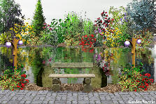 Garden design:The bench by the river!