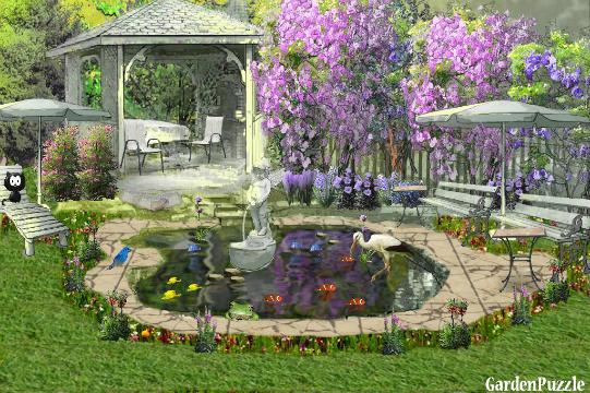 Garden with a small fish pond gardenpuzzle online for Garden pool crossword