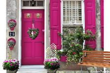 Garden design:Hot pink Doors