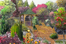 Garden design:Afternoon at the garden pond.