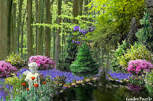 Garden design:Garden in the deep woods