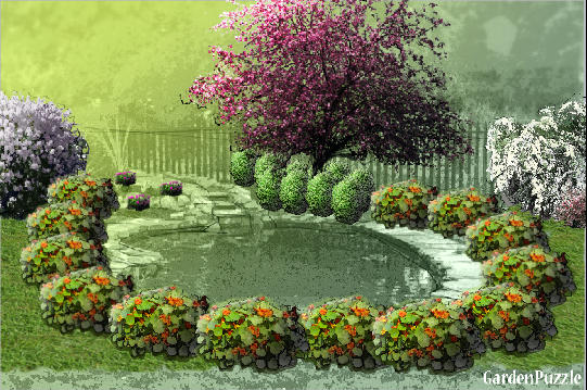 Landscaping Shrubs Crossword : Giardino con laghetto gardenpuzzle garden planning tool