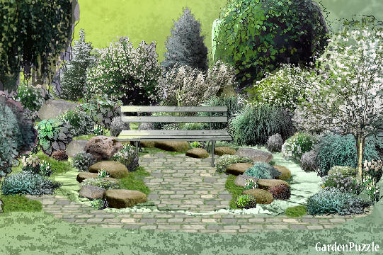 Moon garden in 4 seasons gardenpuzzle online garden for Moon garden designs
