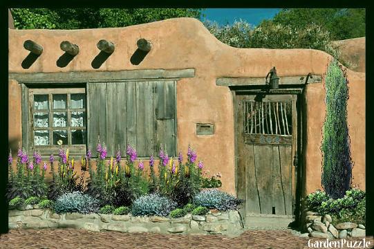 Santa Fe adobe home GardenPuzzle online garden