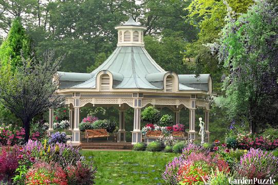Victorian gazebo gardenpuzzle online garden planning tool for Victorian garden designs