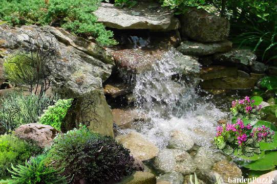 Mini icy waterfall in koi pond gardenpuzzle online for Mini koi pond