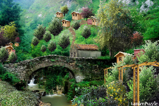 Garden design:Old Stone Bridge In Quaint Mountian Villa - Spring
