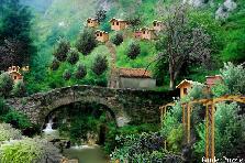 Old Stone Bridge In Quaint Mountian Villa - Winter