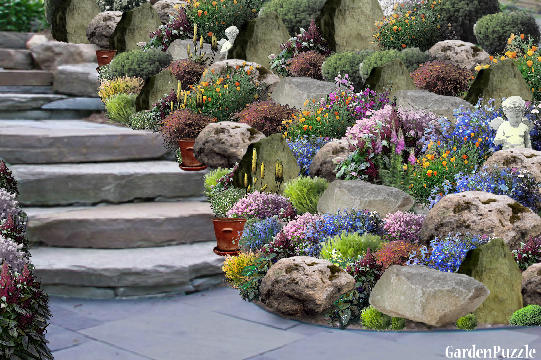 Rockery gardenpuzzle online garden planning tool for Rockery designs for small gardens