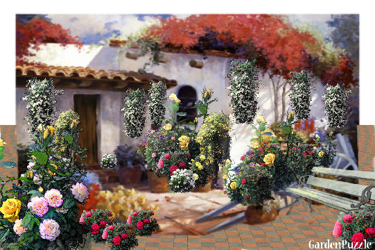 Bella spanish cottage gardenpuzzle online garden for Spanish garden designs
