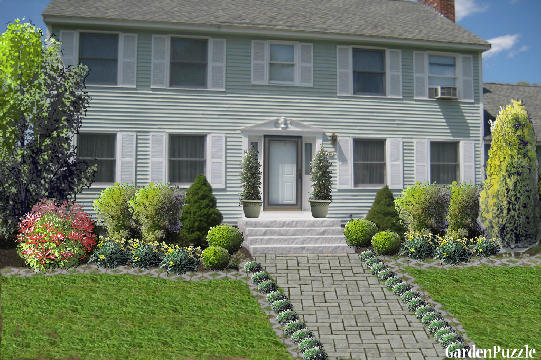 Colonial home landscape design house design plans for Colonial landscape design