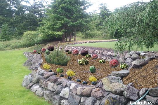 Rockery side view gardenpuzzle online garden planning tool for Garden pond rockery ideas