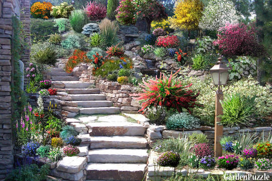 The rockery gardenpuzzle online garden planning tool for Como decorar un jardin con plantas