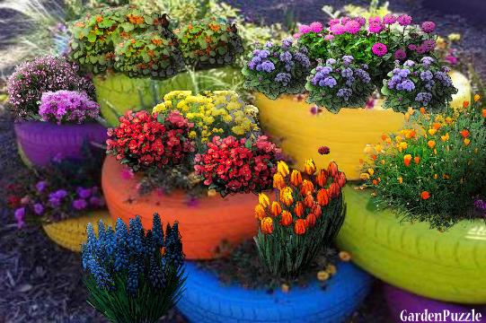 Tire Planters Gardenpuzzle Online Garden Planning Tool