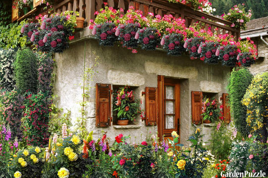Small house in flowers gardenpuzzle online garden for Garden 50 designs to help you destress