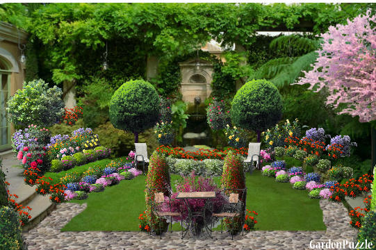 The old backyard fountain gardenpuzzle online garden for Design my own garden
